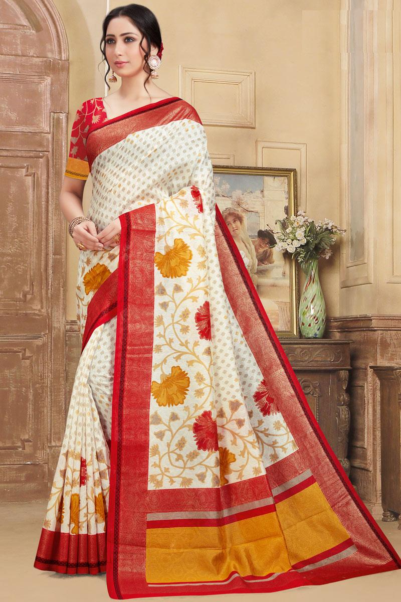 Printed Art Silk Fabric Fancy Saree In Off White