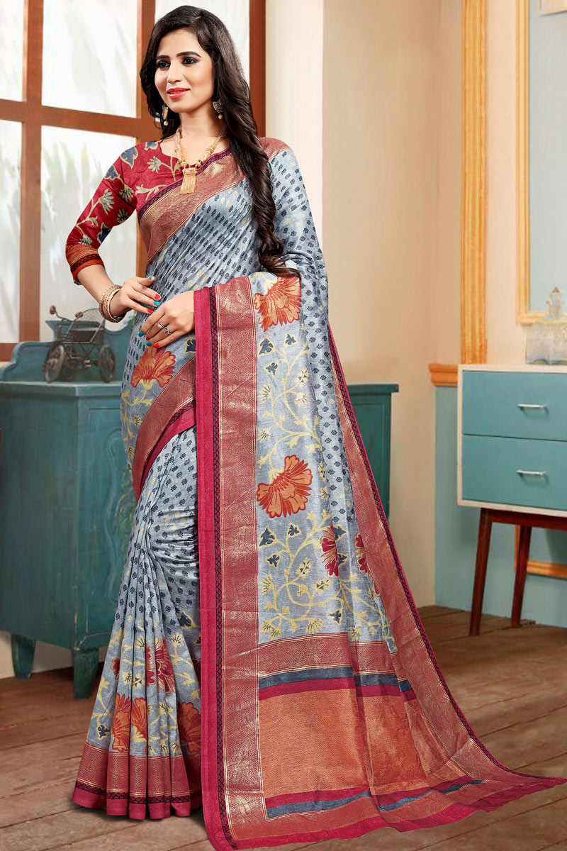 Art Silk Fabric Grey Color Festive Wear Printed Saree