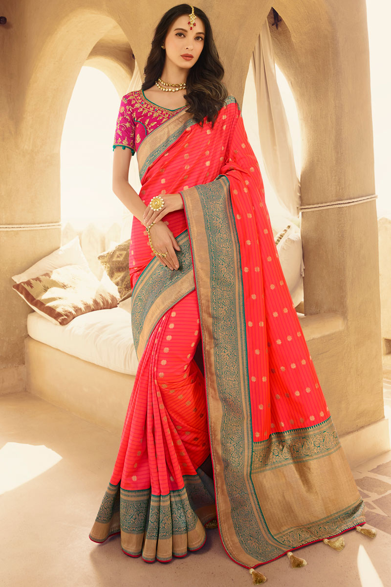 Embroidery Work On Occasion Wear Saree In Silk With Designer Blouse