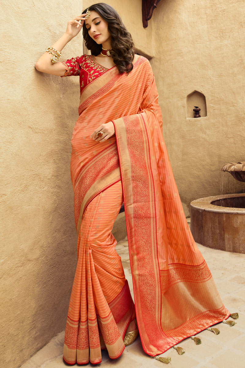 Embroidery Work On Silk Designer Saree In Peach With Admirable Blouse