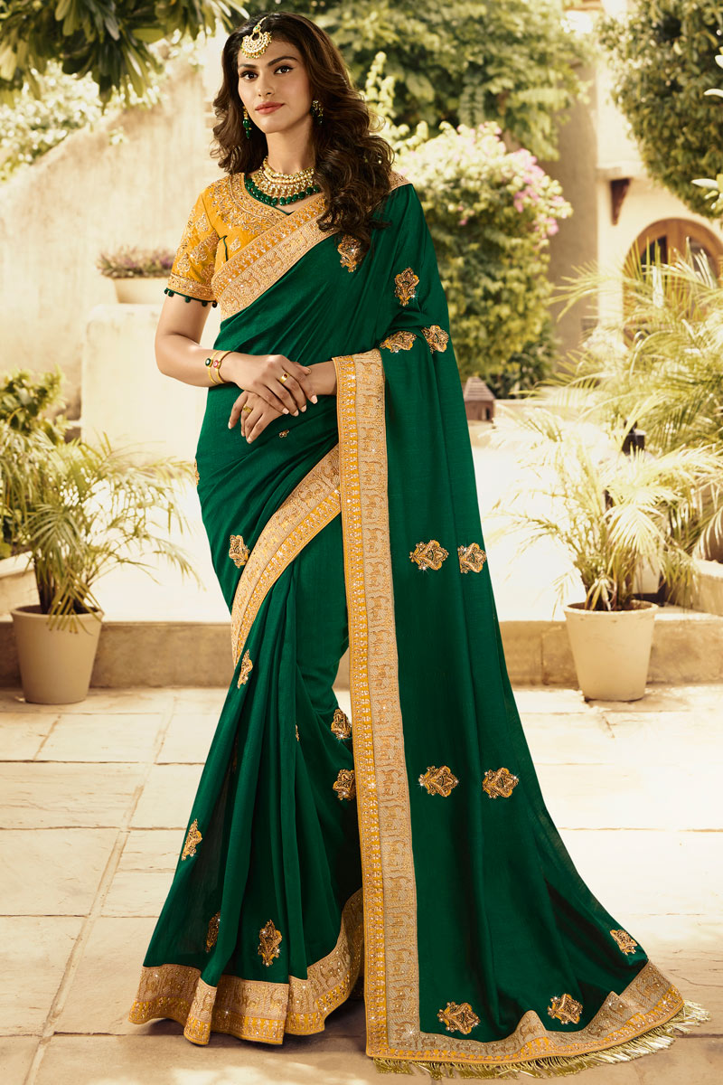 Embroidery Work On Silk Party Wear Saree In Dark Green With Ravishing Blouse
