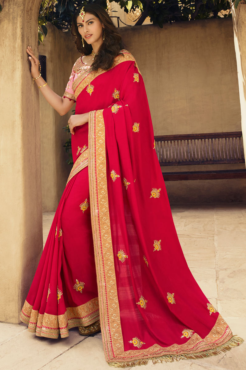 Georgette Silk Red Occasion Wear Saree With Embroidery Work And Elegant Blouse