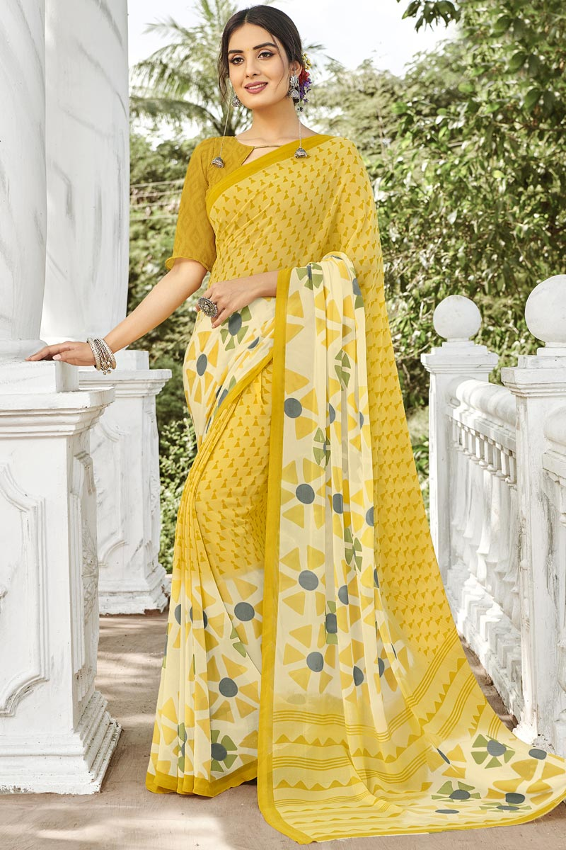 Fancy Daily Wear Georgette Yellow Printed Saree