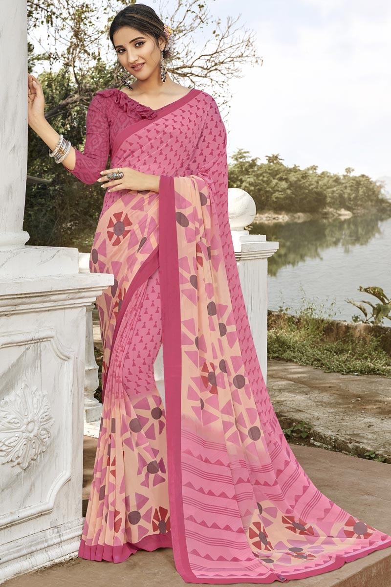 Fancy Pink Georgette Regular Wear Printed Saree