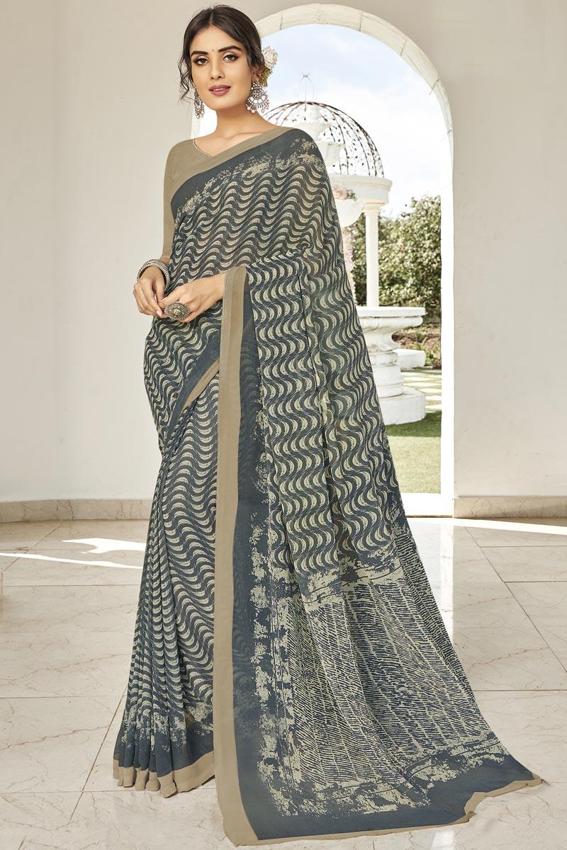 Regular Wear Fancy Grey Printed Saree In Georgette