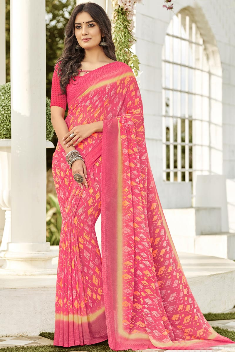 Regular Wear Fancy Georgette Printed Saree In Pink