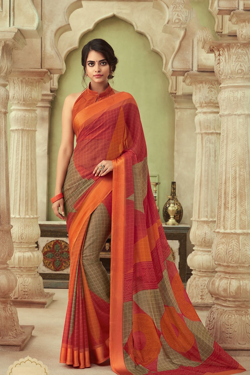 Chiffon Fabric Festive Wear Printed Saree In Orange Color