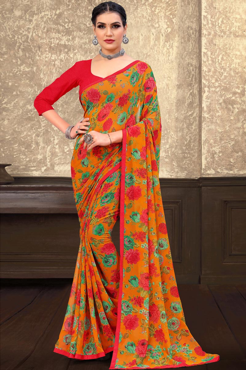 Orange Color Floral Printed Georgette Fabric Daily Wear Saree