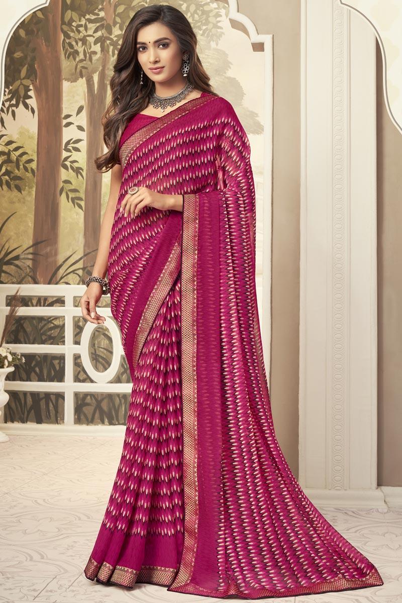 Chiffon Fabric Rani Color Daily Wear Fancy Printed Saree