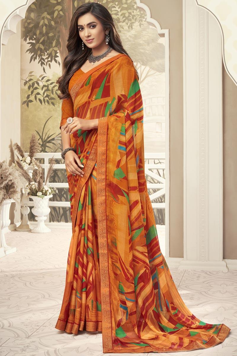 Orange Color Fancy Chiffon Fabric Printed Daily Wear Saree