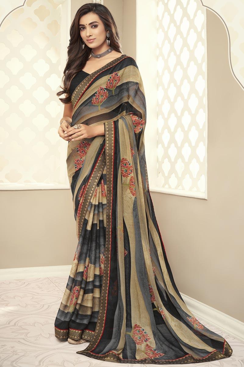 Chiffon Multi Color Regular Wear Simple Printed Saree