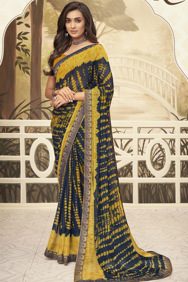Navy Blue Color Chiffon Fabric Regular Wear Fancy Printed Saree