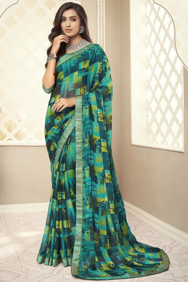 Chiffon Fabric Regular Wear Cyan Color Printed Saree