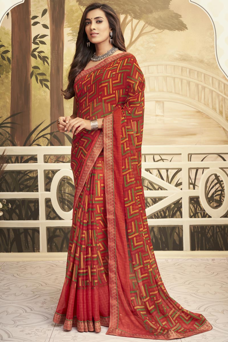 Red Color Puja Wear Printed Saree In Chiffon Fabric