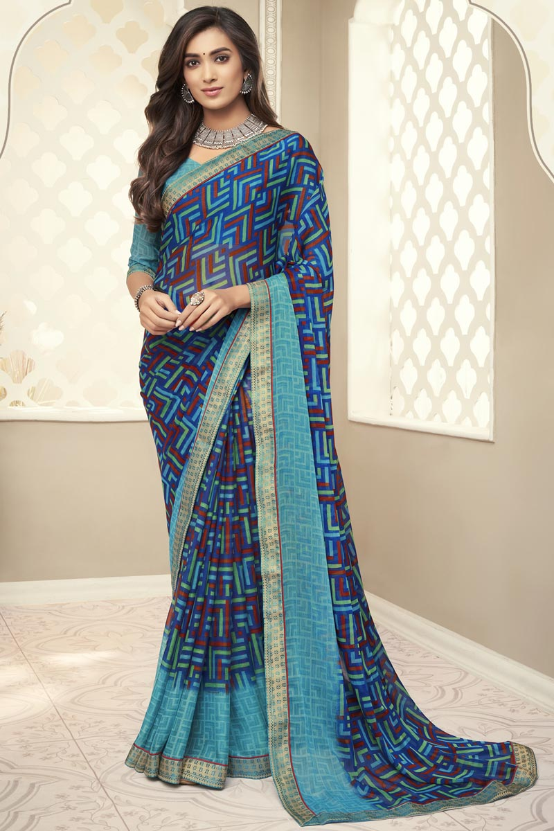 Navy Blue Color Chiffon Fabric Fancy Printed Daily Wear Saree