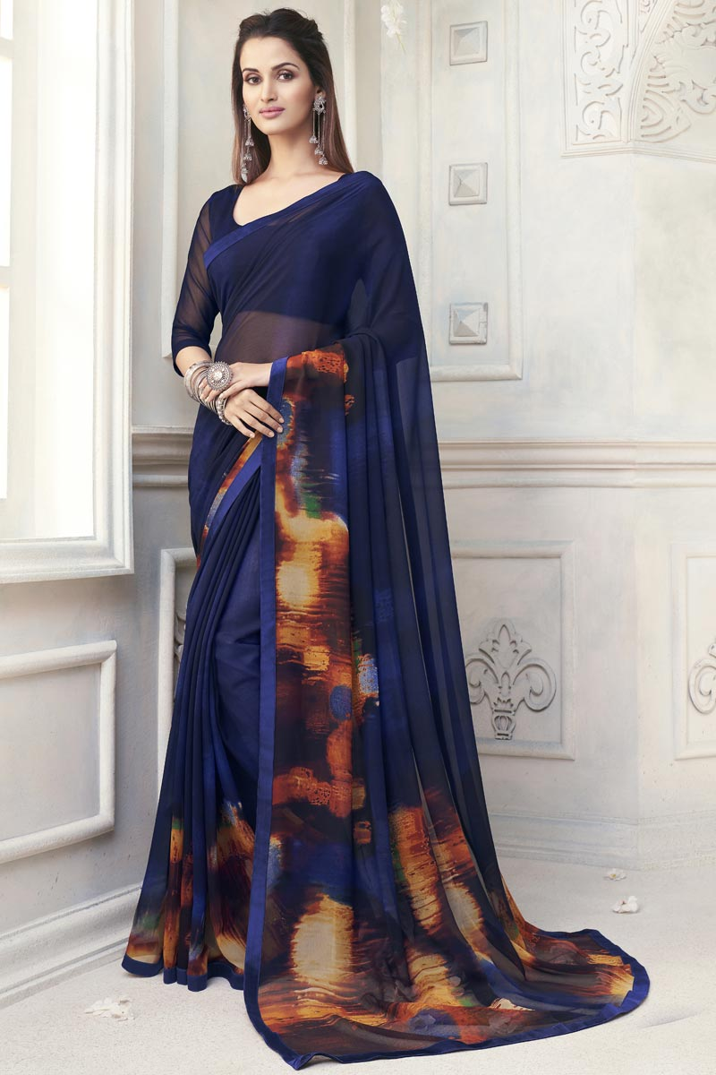 Elegant Georgette Navy Blue Color Office Wear Printed Saree
