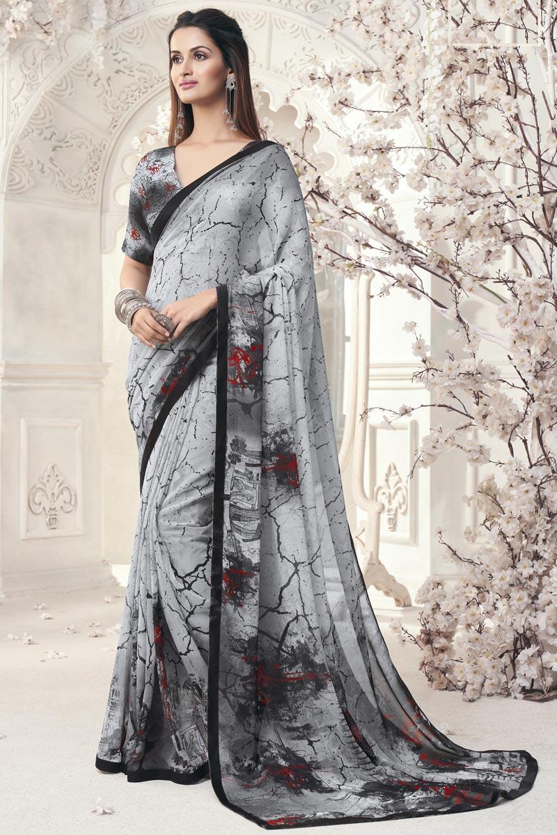Elegant Grey Color Office Wear Georgette Printed Saree