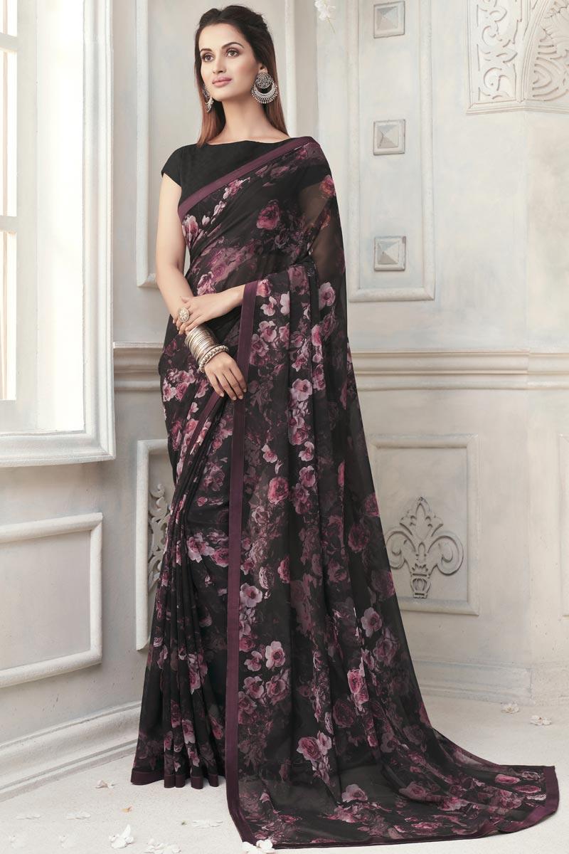 Office Wear Elegant Georgette Printed Saree In Black Color