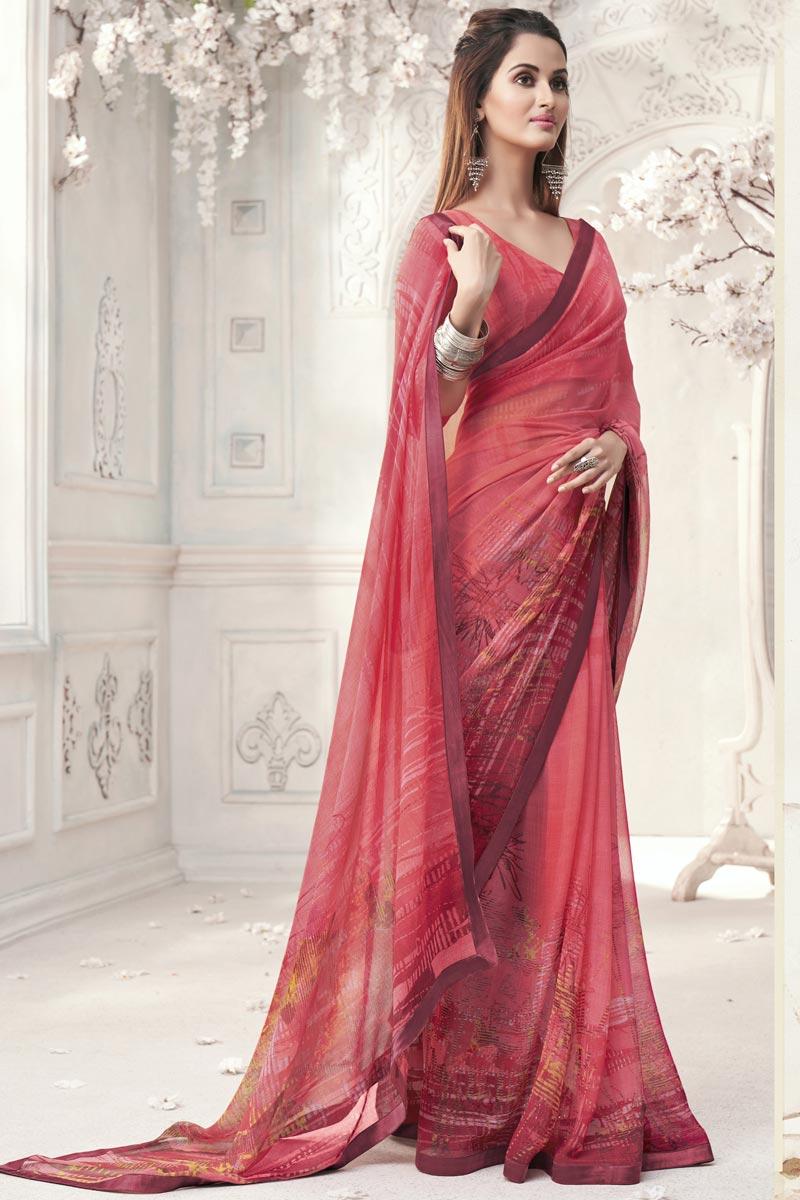 Georgette Peach Color Elegant Office Wear Printed Saree