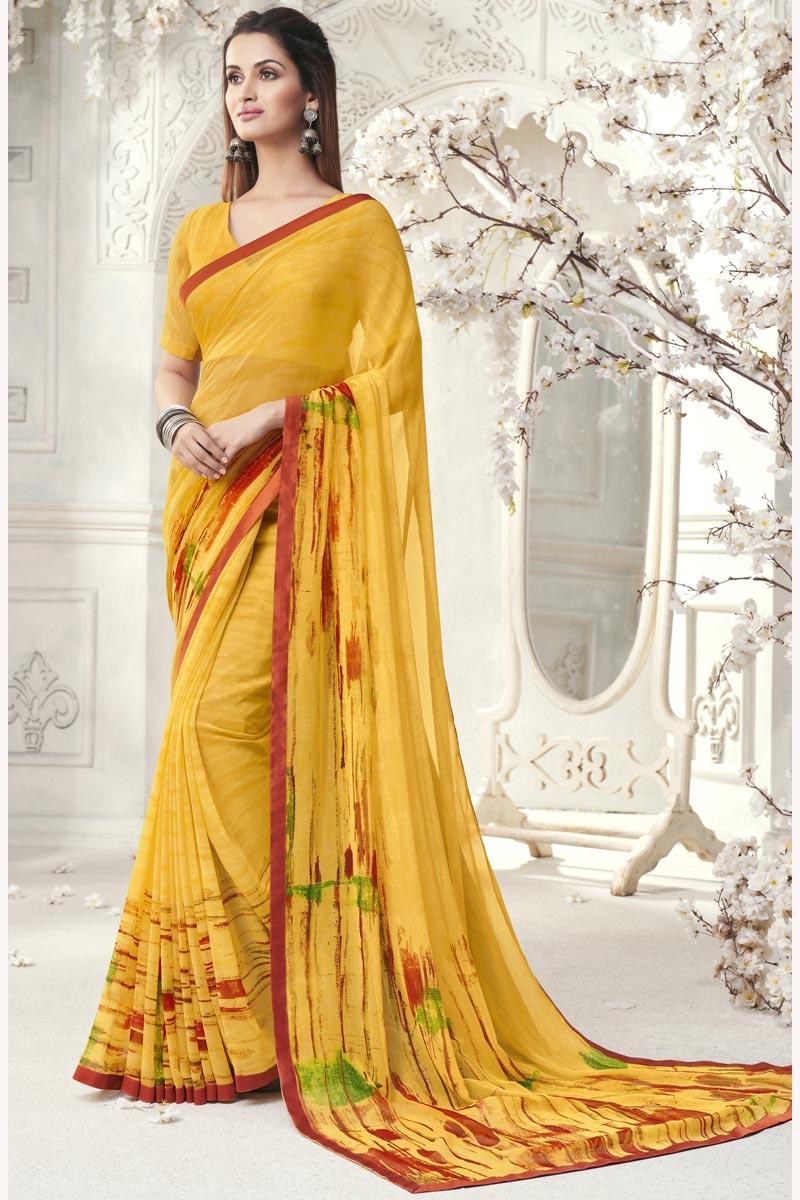 Elegant Regular Wear Georgette Yellow Color Printed Saree