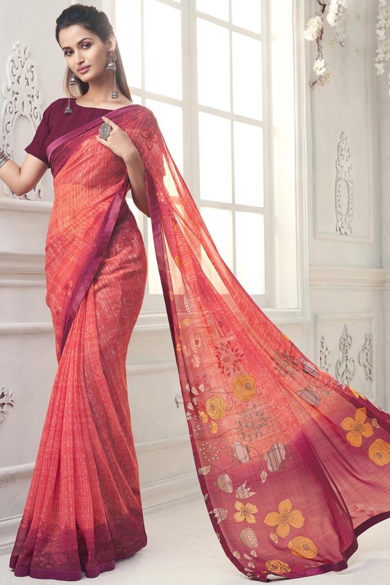 Elegant Georgette Regular Wear Peach Color Printed Saree