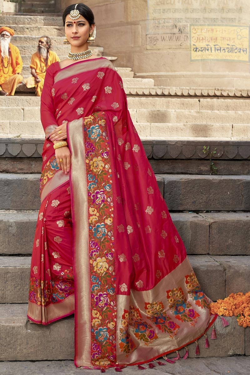 Silk Fabric Wedding Function Wear Red Color Weaving Work Designer Saree