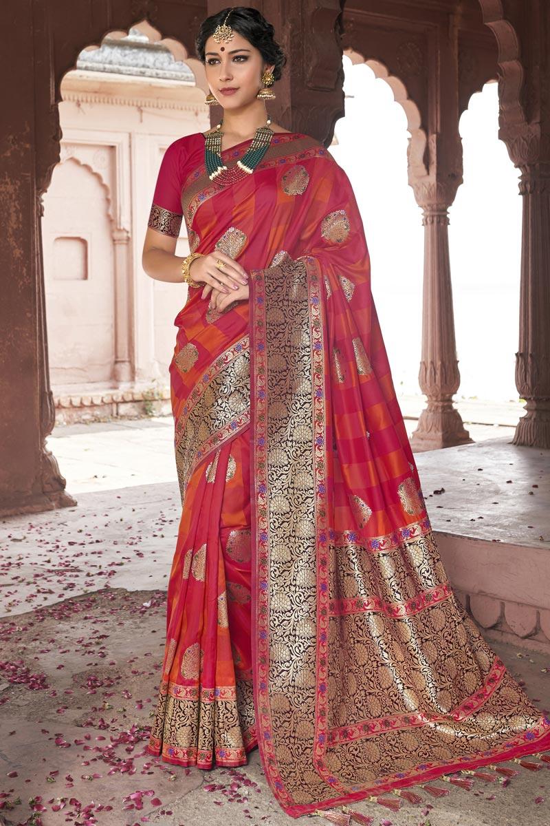 Eid Special Silk Fabric Wedding Function Wear Pink Color Weaving Work Designer Saree