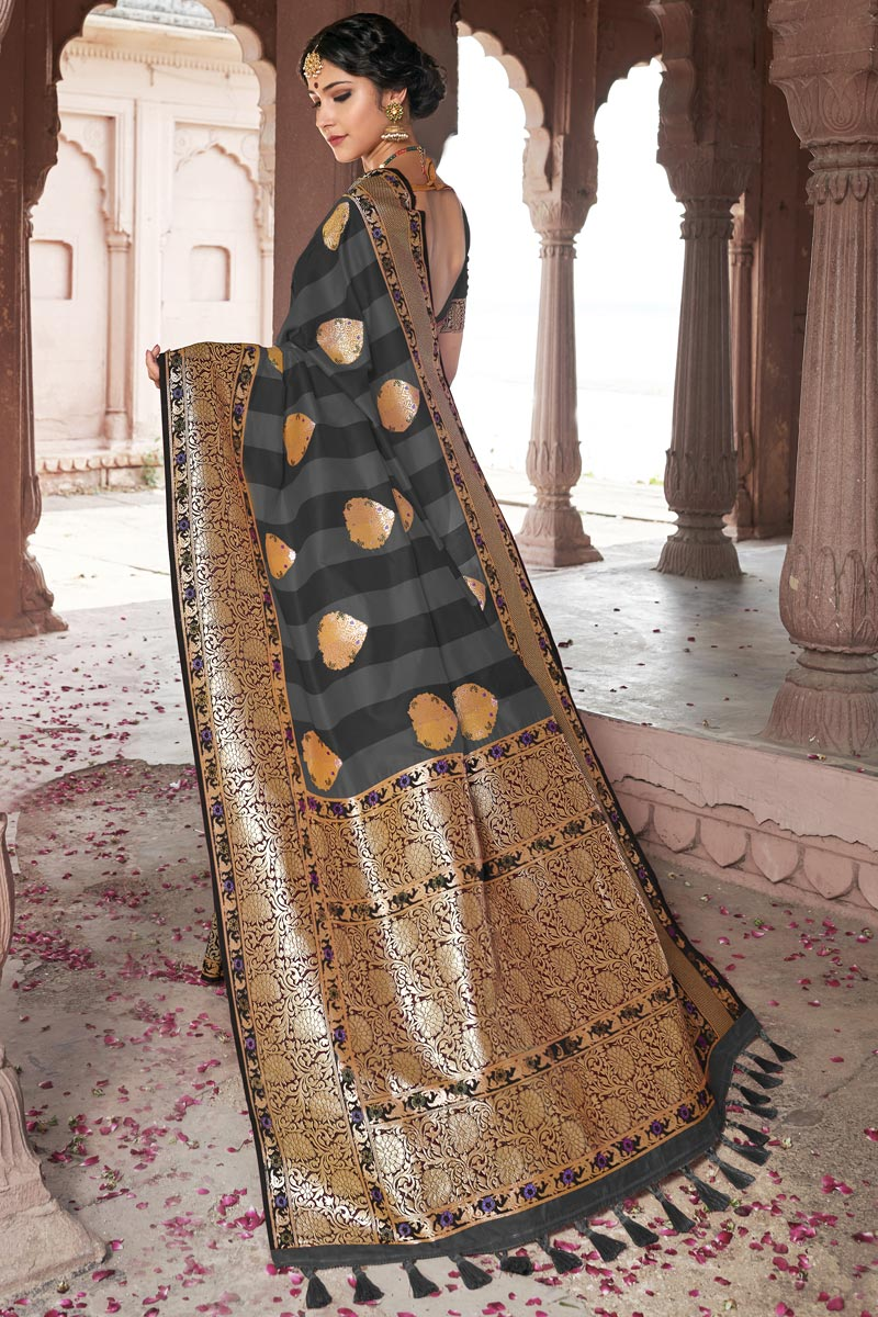 Eid Special Wedding Wear Grey Color Weaving Work Designer Saree In Silk Fabric