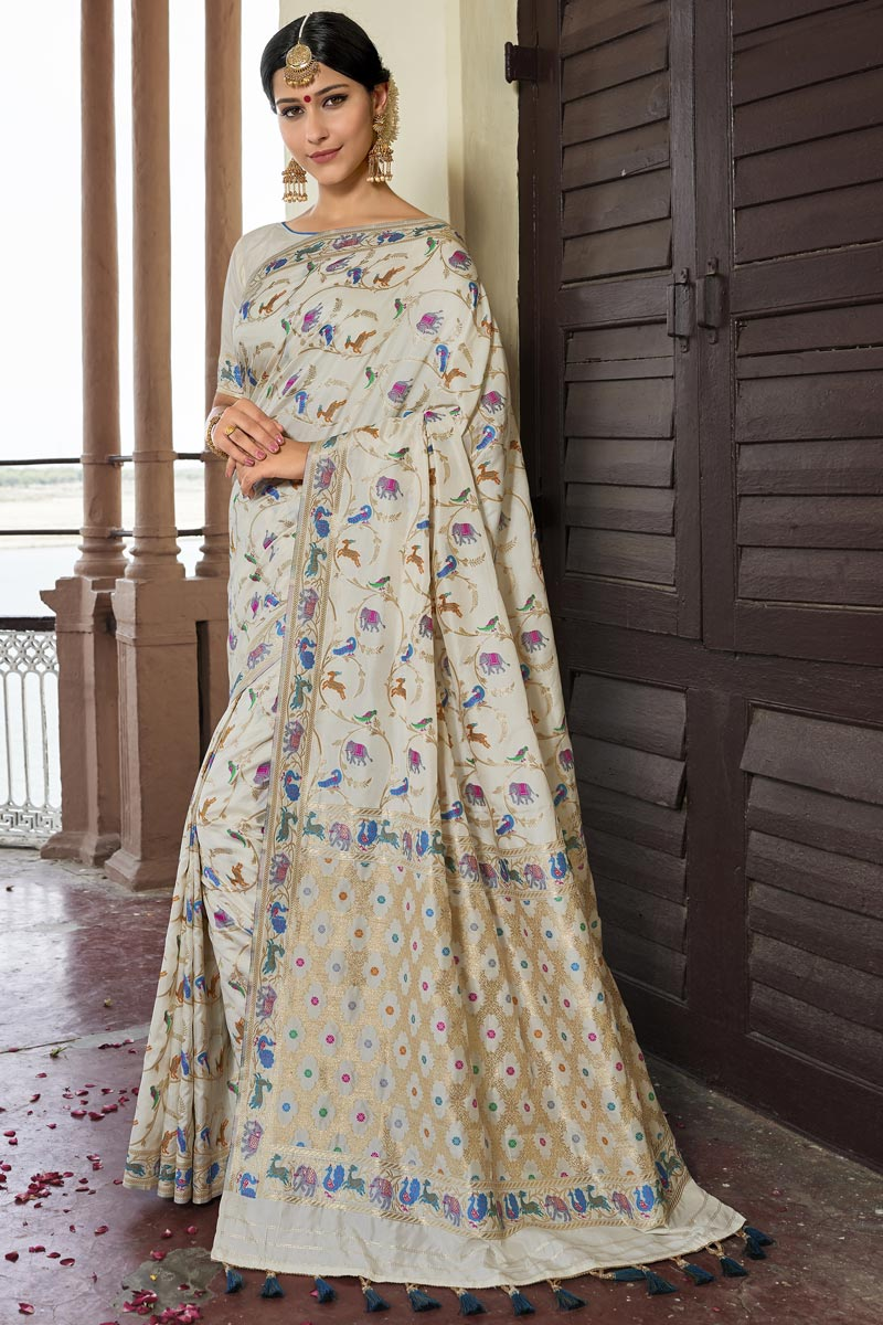 Wedding Function Wear Silk Fabric Designer Weaving Work Saree In Off White Color