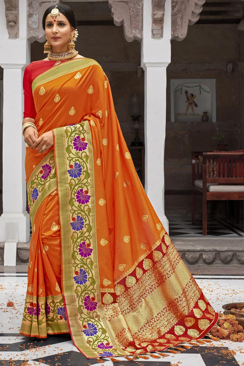 Silk Fabric Wedding Function Wear Weaving Work Designer Orange Color Saree