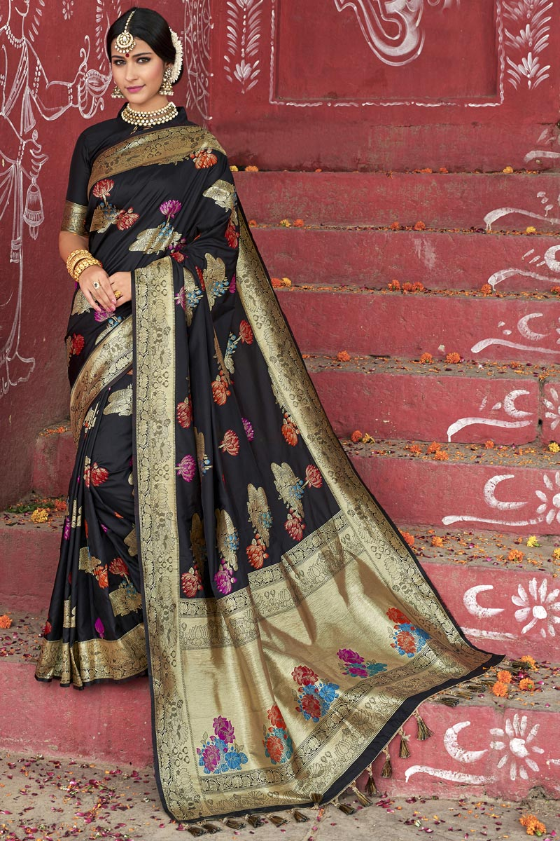 Eid Special Wedding Function Wear Silk Fabric Designer Weaving Work Saree In Black Color