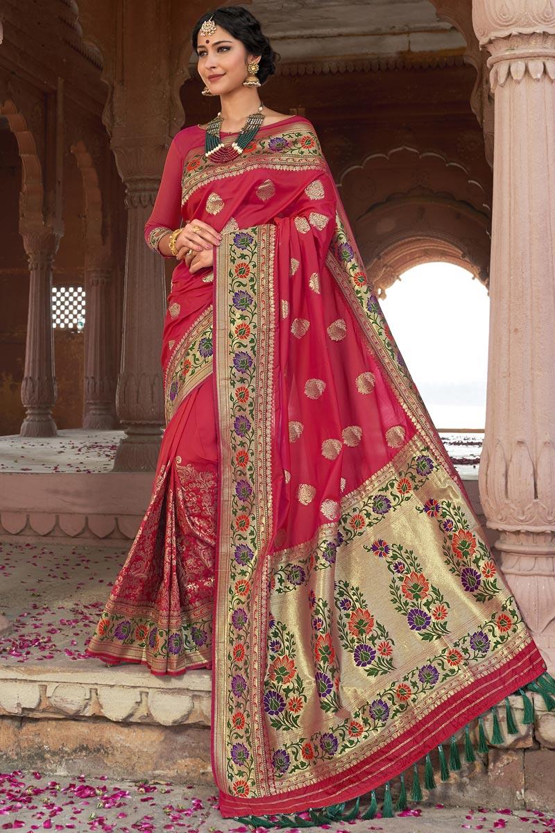Pink Color Wedding Function Wear Silk Fabric Weaving Work Designer Saree