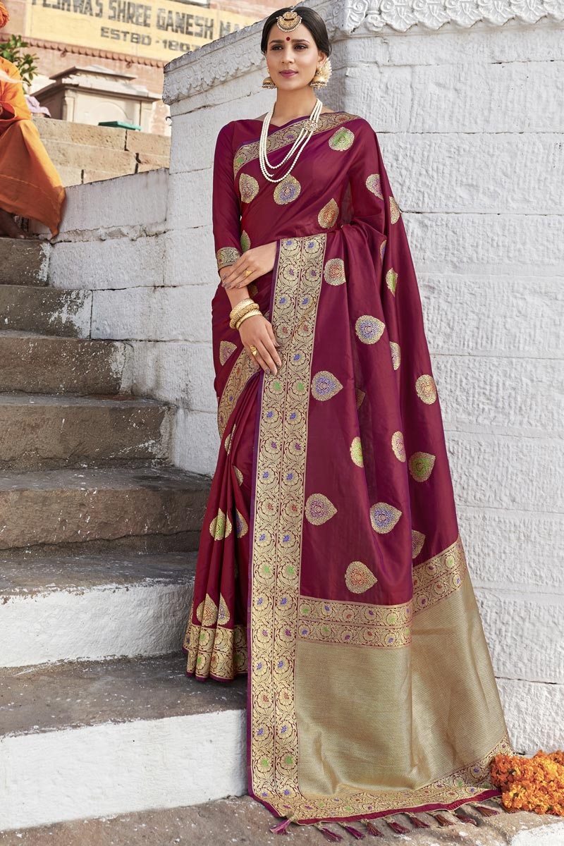 Wedding Function Wear Silk Fabric Weaving Work Designer Saree In Maroon Color