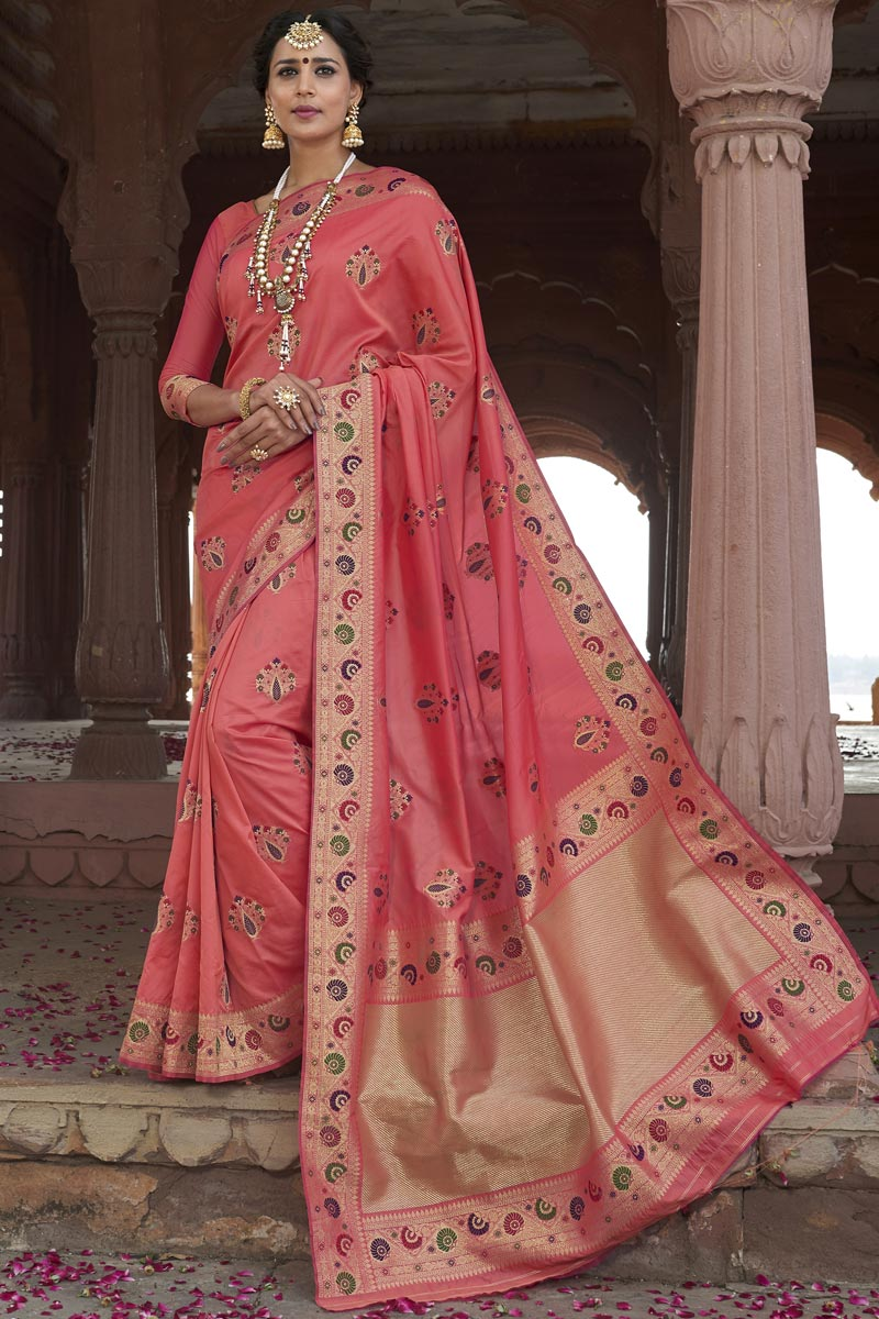 Silk Fabric Pink Color Wedding Function Wear Weaving Work Designer Saree