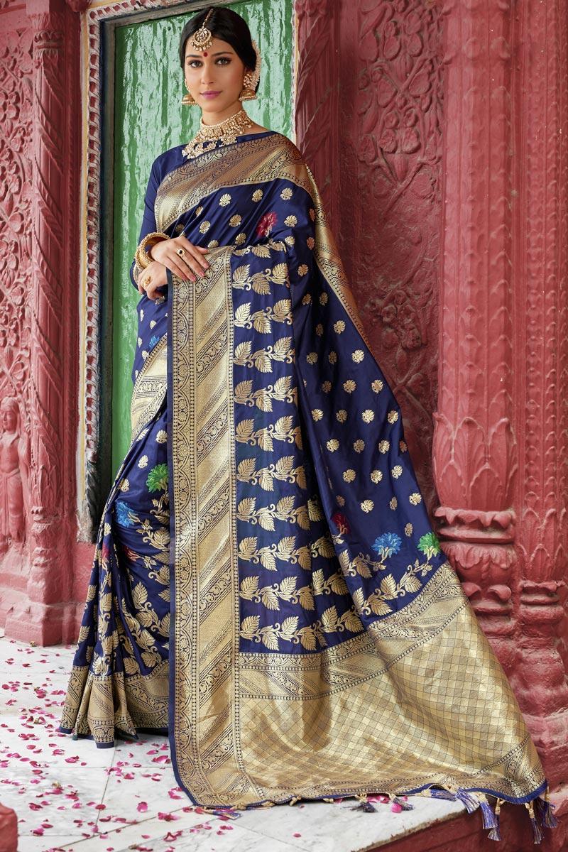 Eid Special Wedding Function Wear Navy Blue Color Designer Weaving Work Saree In Silk Fabric