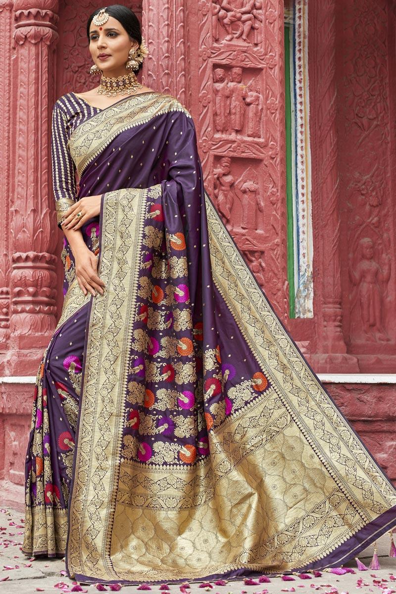 Eid Special Purple Color Wedding Wear Weaving Work Designer Silk Fabric Saree