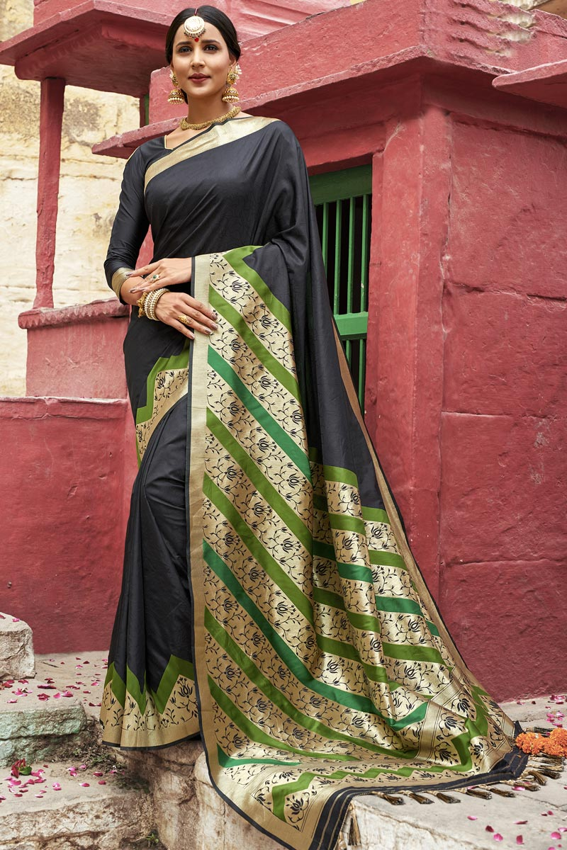 Eid Special Traditional Function Wear Black Color Designer Weaving Work Saree In Silk Fabric