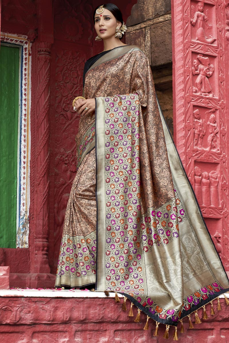 Eid Special Traditional Function Wear Silk Fabric Designer Weaving Work Saree In Peach Color