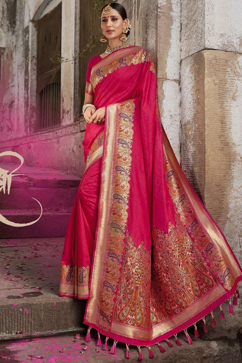 Eid Special Traditional Function Wear Silk Fabric Weaving Work Designer Saree In Pink Color