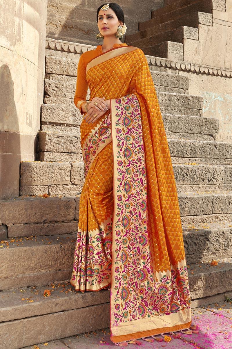 Silk Fabric Mustard Color Traditional Function Wear Weaving Work Designer Saree
