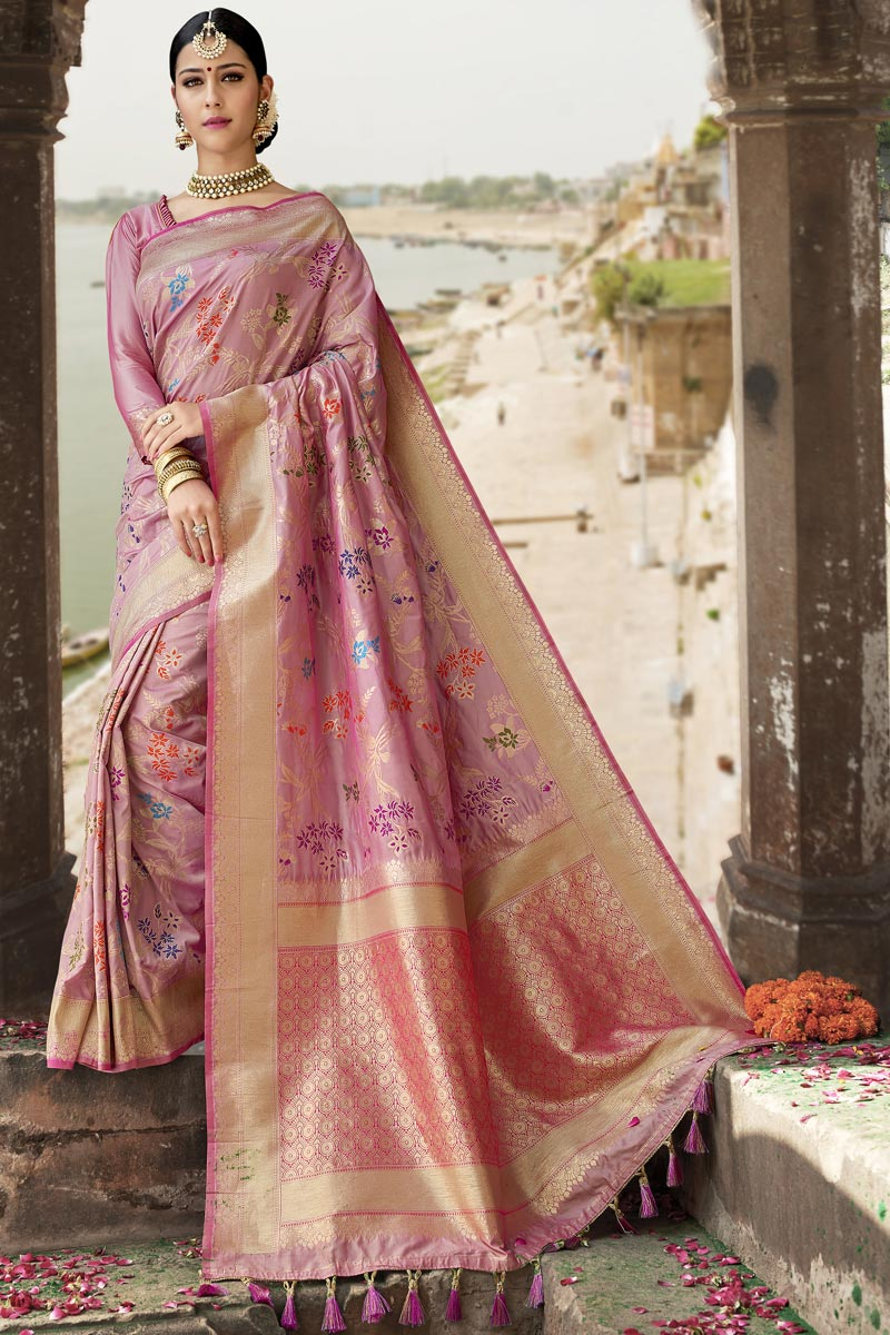 Traditional Function Wear Pink Color Designer Weaving Work Saree In Silk Fabric