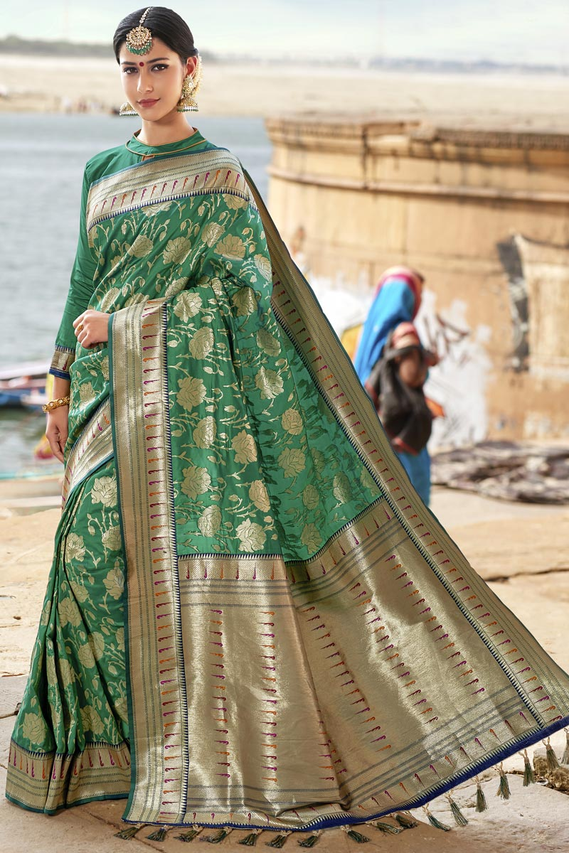 Green Color Traditional Function Wear Weaving Work Designer Silk Fabric Saree