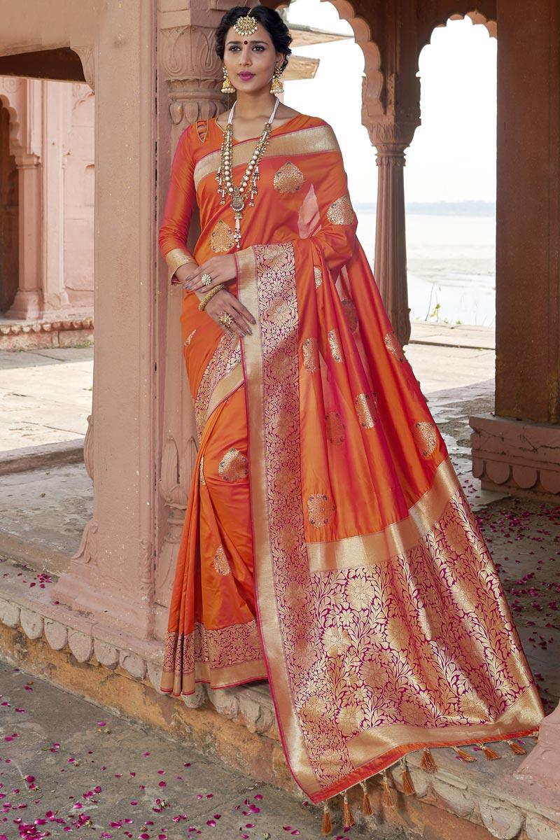 Wedding Wear Orange Color Designer Weaving Work Saree In Silk Fabric