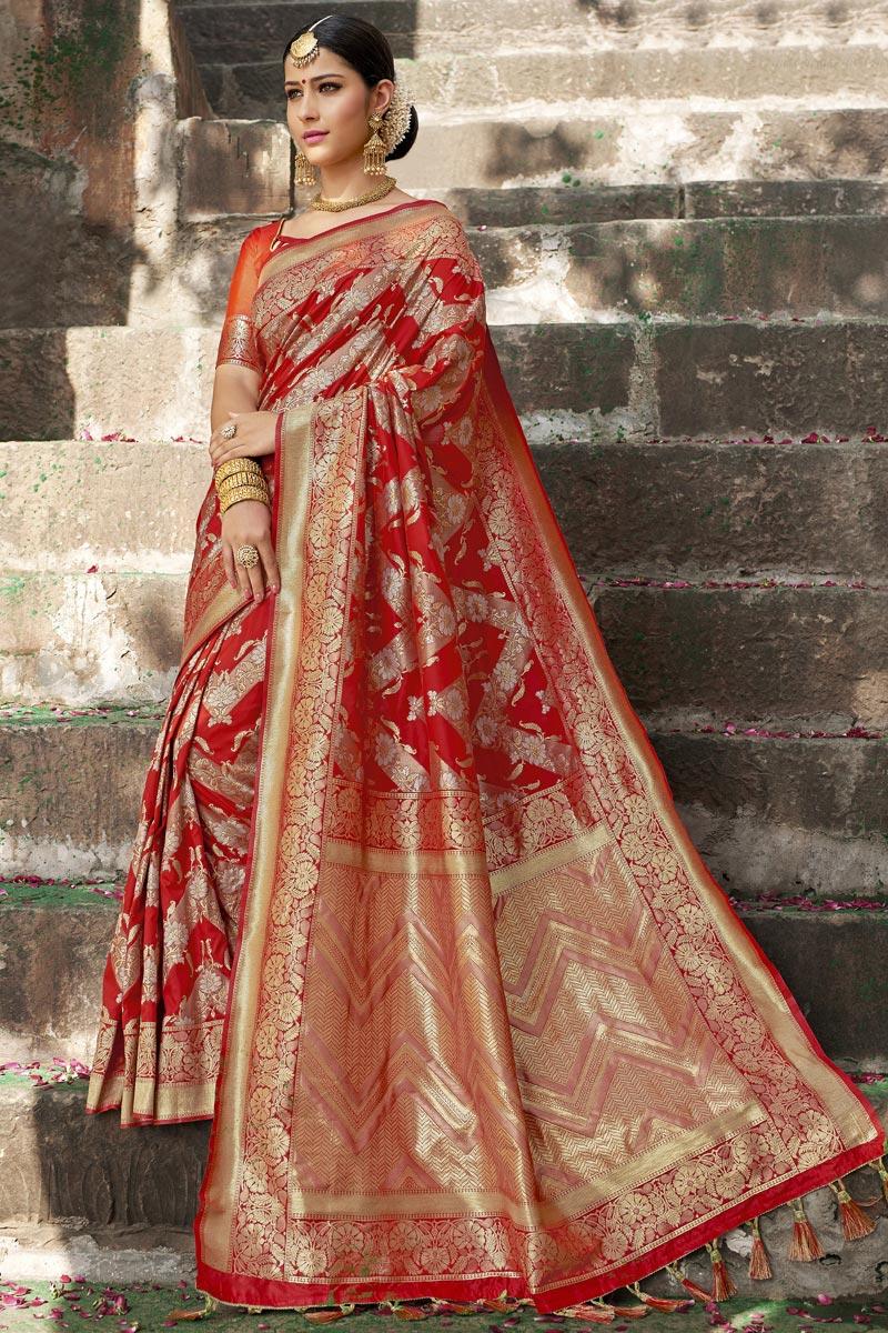 Wedding Wear Red Color Weaving Work Designer Saree In Silk Fabric