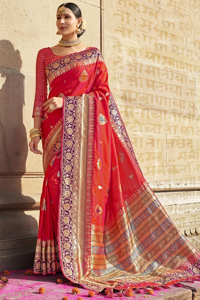 Eid Special Red Color Silk Fabric Wedding Wear Weaving Work Designer Saree