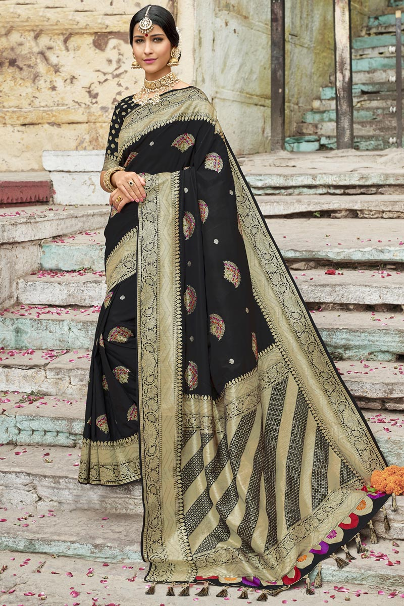 Wedding Wear Silk Fabric Designer Weaving Work Saree In Black Color