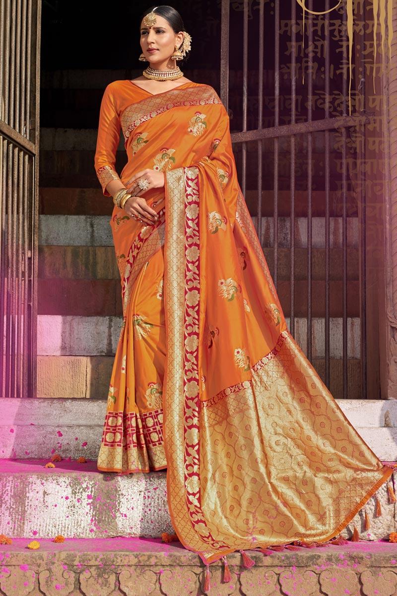 Wedding Wear Silk Fabric Designer Weaving Work Saree In Orange Color
