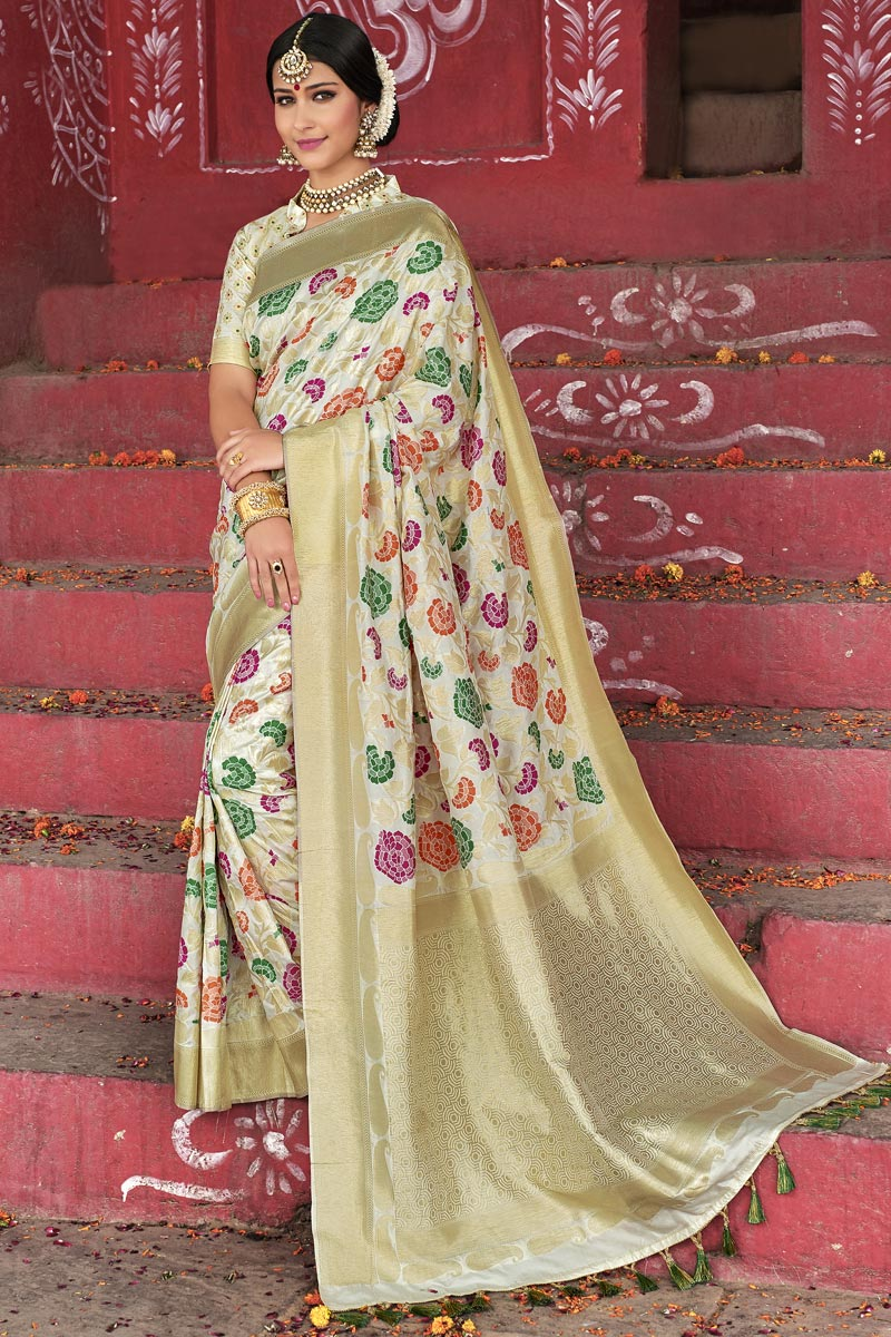 Beige Color Wedding Wear Silk Fabric Weaving Work Designer Saree