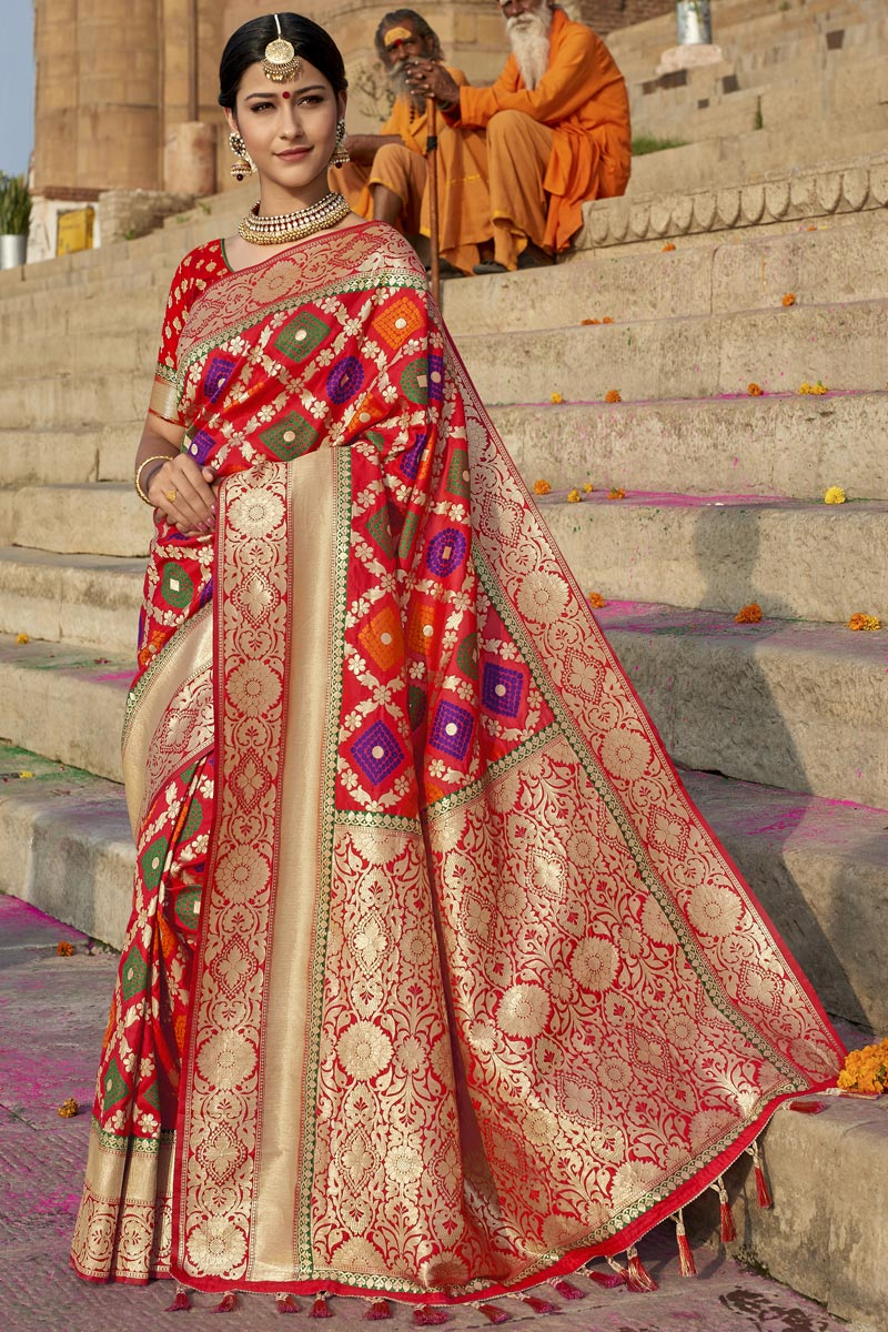 Eid Special Wedding Wear Silk Fabric Weaving Work Designer Saree In Red Color