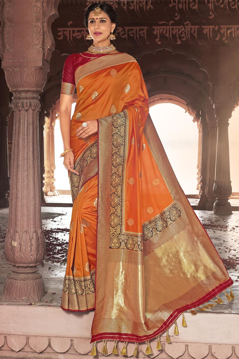 Orange Color Wedding Wear Weaving Work Designer Silk Fabric Saree